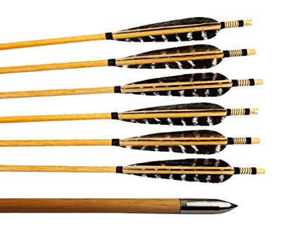 amazon com huntingdoor 12 pcs turkey feather fletching woodenhuntingdoor 12 pcs turkey feather fletching wooden target arrows with field points for recurve bow or