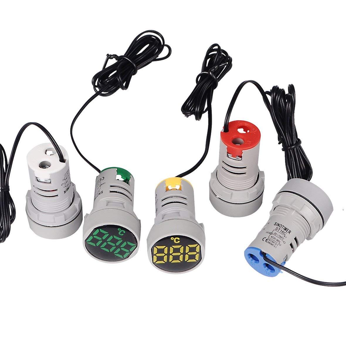 Blanco 20-120 ℃ SINOTIMER ST16C 22mm Ronda LED Pantalla digital Term/ómetro Medidor de temperatura Probador Indicador Luz de se/ñal