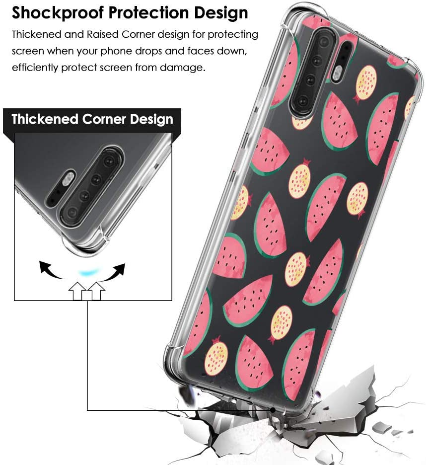 Crystal Clear Flexible Dustproof Skin Shell for Huawei Honor 20 Air Cushion Soft TPU Bumper Protective Phone Cover Cases, Red Rose Oihxse Shockproof Case Compatible with Huawei Honor 20