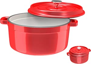Especo Cast Iron with Lid Enameled Dutch Oven Casserole Dish Nonstick Multi-functional Cookware Large Loop Handles & Self-Basting Condensation Ridges On Lid (5-quart, Red)