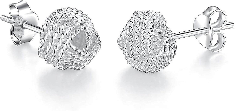 Silber Ohrringe Liebe Knoten Geschenk f/ür Frauen M/ädchen 8mm 10mm