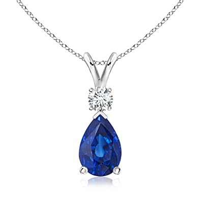 Angara GIA Certified Cushion Blue Sapphire V-Bale Pendant dC5CzWT