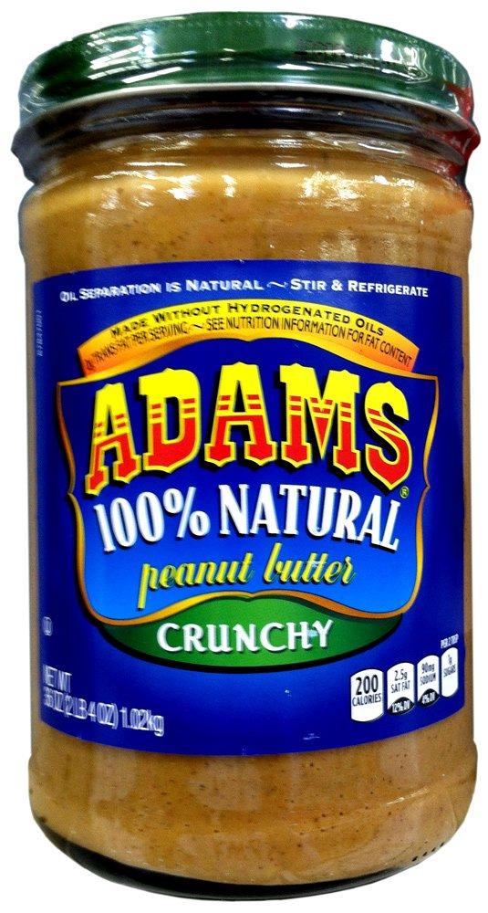 Adams 100% Natural CRUNCHY PEANUT BUTTER 36oz (2 Pack)