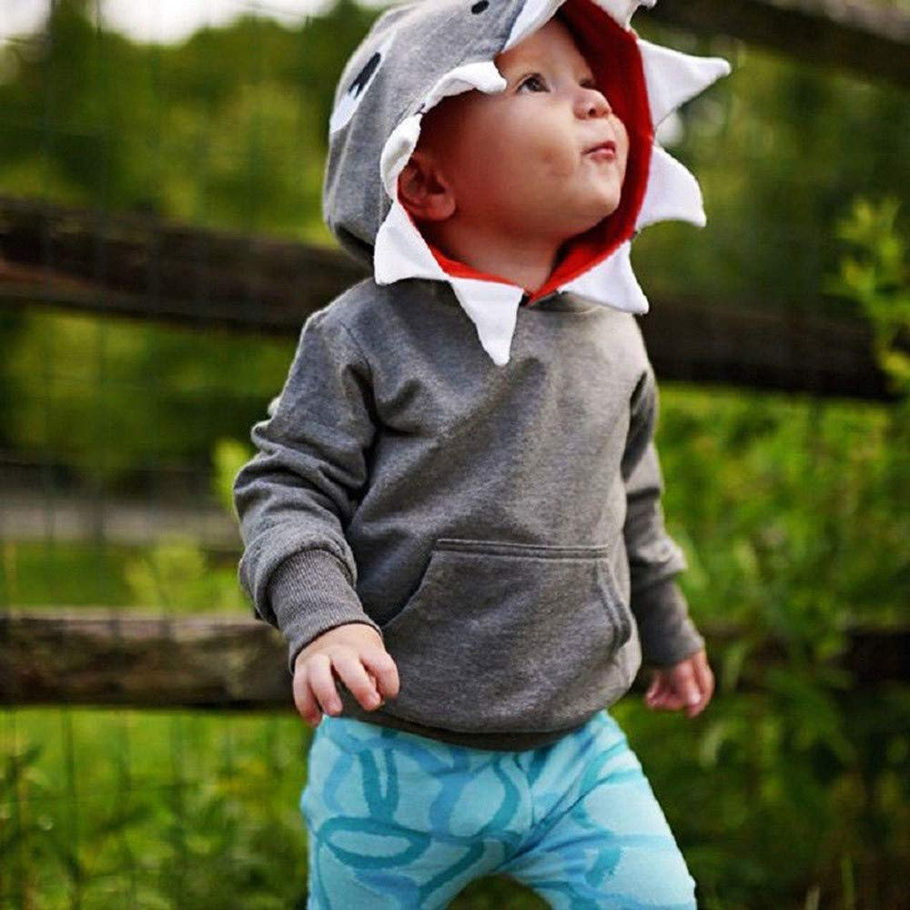 KimSoong Toddler Baby Hoodie Tops 3D Cartoon Shark Casual Hooded Sweatshirts with Big Pockets for Boys or Girls