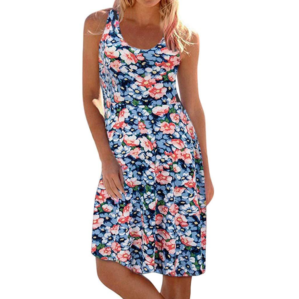 Women's Casual Boho Print Sundress Sleeveless O-Neck Maxi Tank Beach Dresses (Blue, XL)