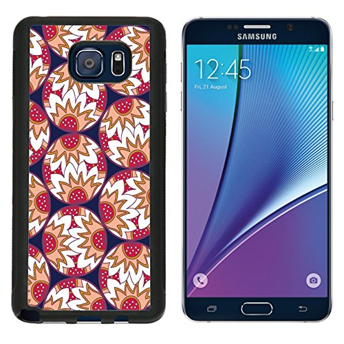 MSD Premium Samsung Galaxy Note 5 Aluminum Backplate Bumper Snap Case Decorative retro colorful circles with doodle floral and strawberry print IMAGE 34745938