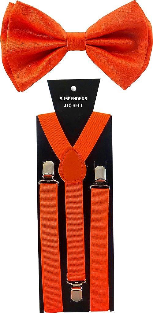 JTC Boys Adjustable Suspender Bow-tie Set Solid Red