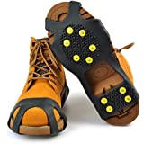 Go Ice Shoes Black | Superb Slip On Stretch Fit Ice and Snow Grips Traction Cleats with 10 Anti Slip Steel Studs / Spikes / Crampons | Premium TPE Material | 3 Size