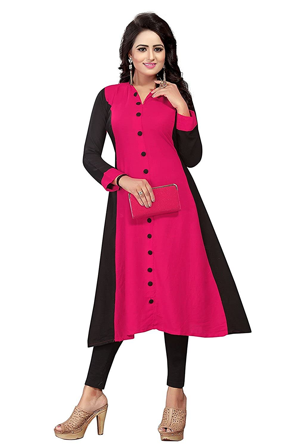 women ethnic wear Semi Stitched Fashions Crepe Pink Women Kurti
