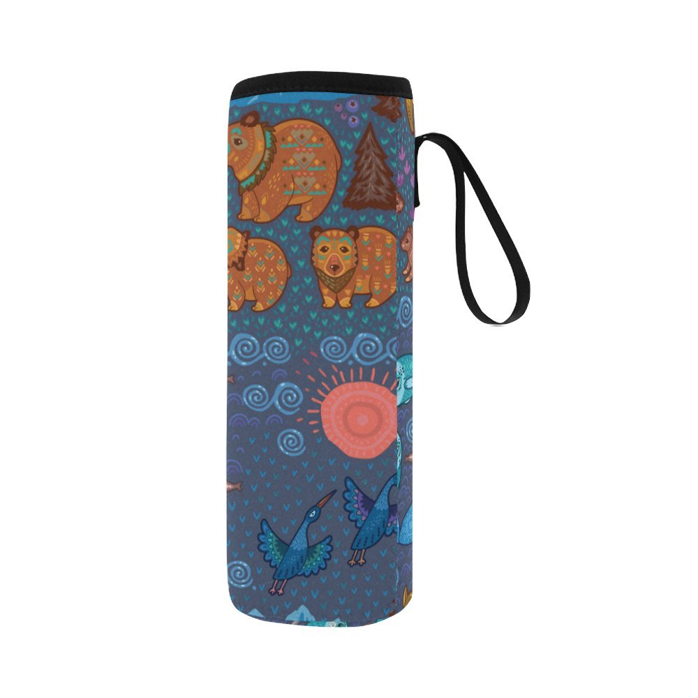 Silly Meow Cute Ornamental Animals In The Forest Custom 2.75 Oz Neoprene Water Bottle Sleeve (Large Size)