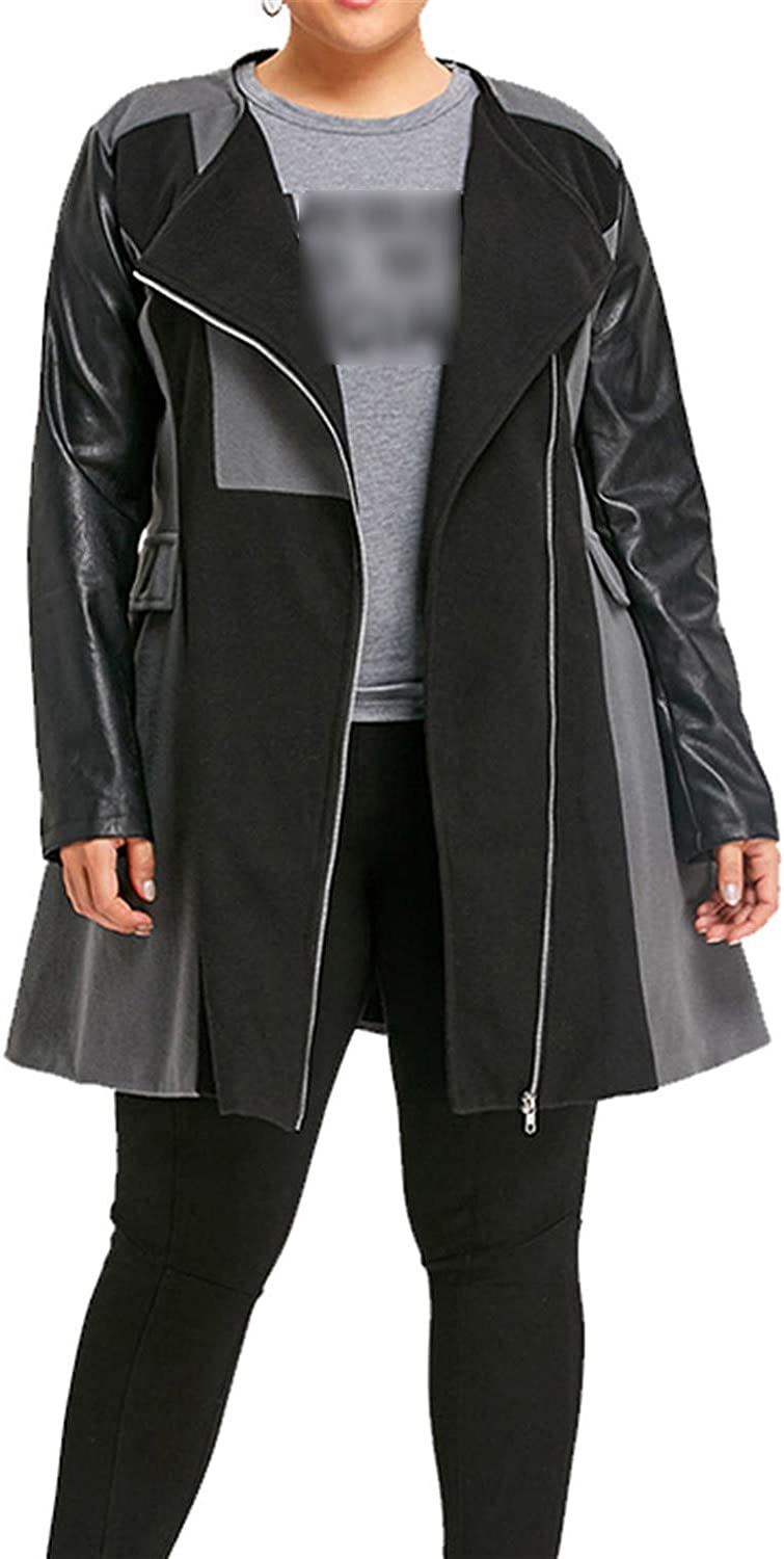 Carol Chambers Trendy New Winter Women Leather Patchwork Long Coats Jacket Overcoat Outwear Warm Womens Clothes