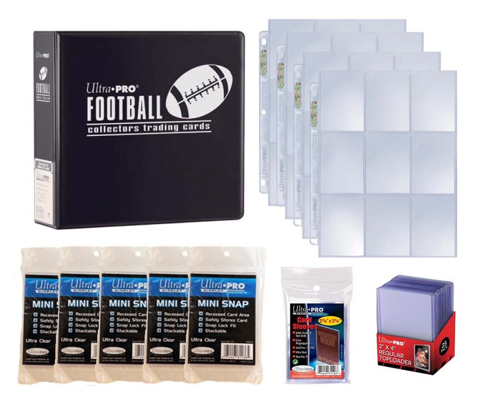 Ultra Pro Football Card Collector Starter Kit – Black Album, 9 Pocket Pages, Sleeves, Top Loaders & Mini Snap Holders