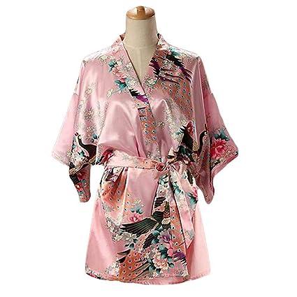 Rosado - Mujer Pijamas de Tela de Seda imitada Albornoz Corto Bata de Kimono Pavo Real