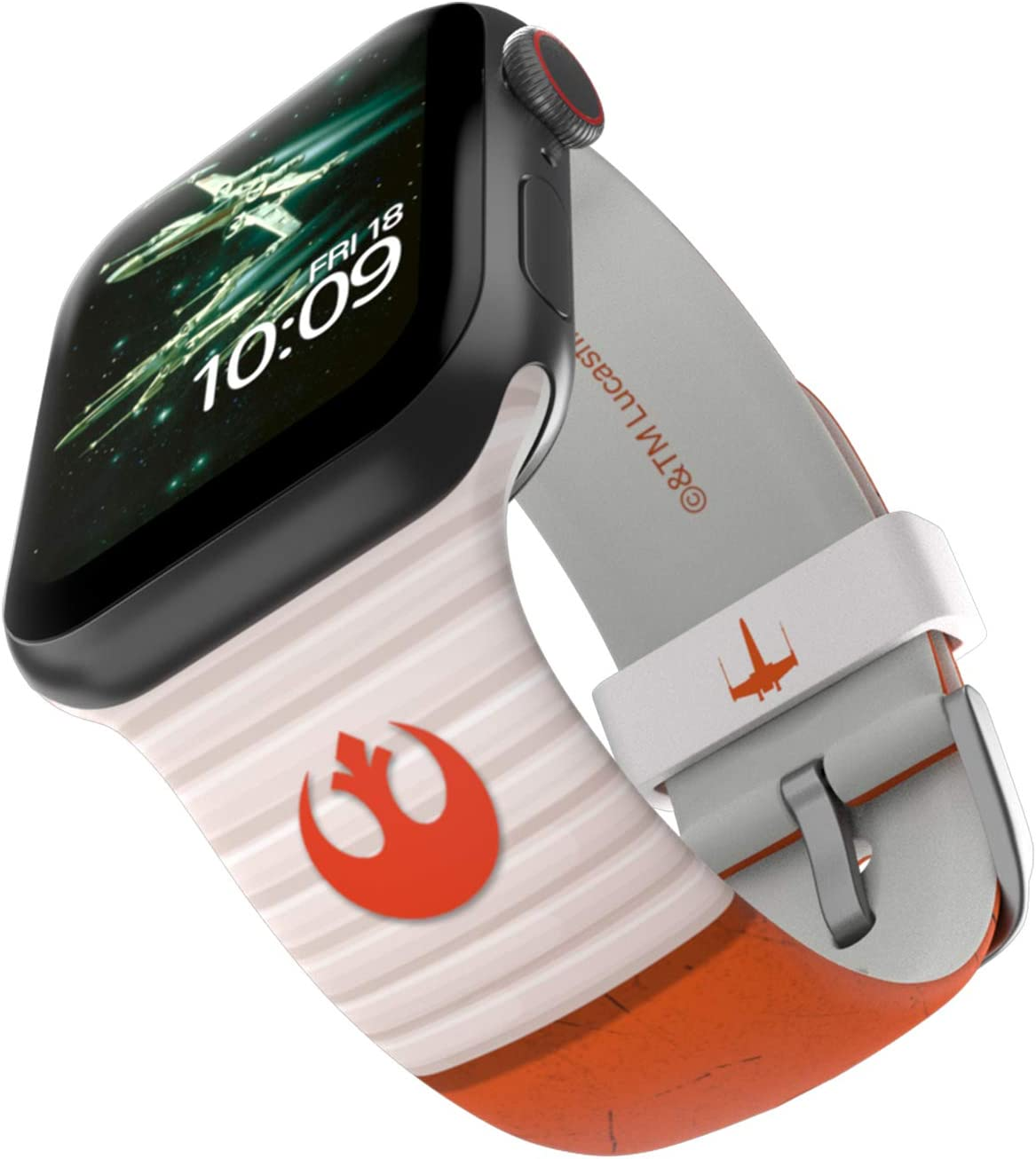 Star Wars - Rebel Classic Edition – Officially Licensed Silicone Smartwatch Band Compatible with Apple Watch (not Included) - Fits 38mm, 40mm, 42mm and 44mm