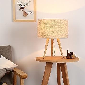 LIGUQI@ Lámpara de Mesa de Noche Simple Moderna Tres Pies Lámpara ...