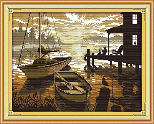 YEESAM ART New Cross Stitch Kits Advanced Patterns for Beginners Kids Adults - Sunset Scenery 11 CT Stamped 52×42 cm - DIY Needlework Wedding Christmas Gifts Advanced Pattern