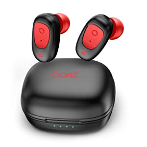 boAt Airdopes 201 True Wireless Earbuds with BT v5.0, IPX 4 Sweat and Water Resistance, in-Built Mic with Voice Assistant (Raging Red)