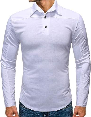 Poloshirt para Hombre Cuello Alto de Manga Larga con Botones en la ...