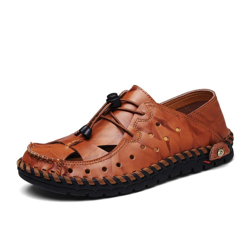 Fuxitoggo Sommer Lederschuhe Kopf mit hochhackigen Schuhen mit Einer Schnalle hohlen Damenmode Sandalen weiblich (Farbe   rotbraun Größe   39)