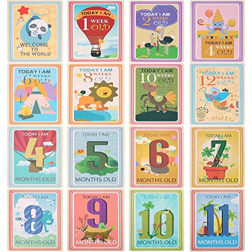 36 Sheet Milestone Photo Sharing Cards Gift Set Baby Age Cards, POAO Baby Milestone Cards, Baby Photo Cards - Newborn Photo Props (4 x 6 ()