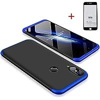 Coque Huawei P20 Lite 360 °Housse PC Coquille Dure de Protection Cover Caseantichoc Antichoc Manchon de Protection 360 °Coque de Protection dépolie(Bleu Noir)+5D Film trempé