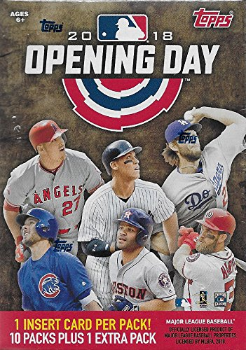 2018 Topps Opening Day Baseball Series Unopened Blaster Box with 11 Packs of 7 Cards Possible Autographs and Game Used Relics Cards from Unopened Box of Packs