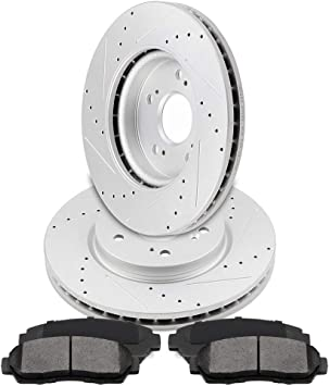 Front Drill Brake Rotors Ceramic Pad for 2007-2011 CR-V Accord Crosstour RDX