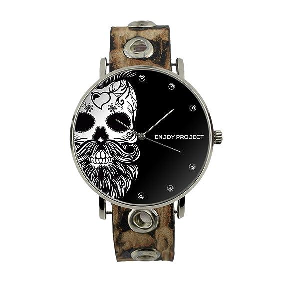 Reloj de pulsera para hombre Mujer Enjoy Project Impresión Calavera con barba Skull Hypster altavoz plata fondo negro correa de piel tachuelas analógica ...