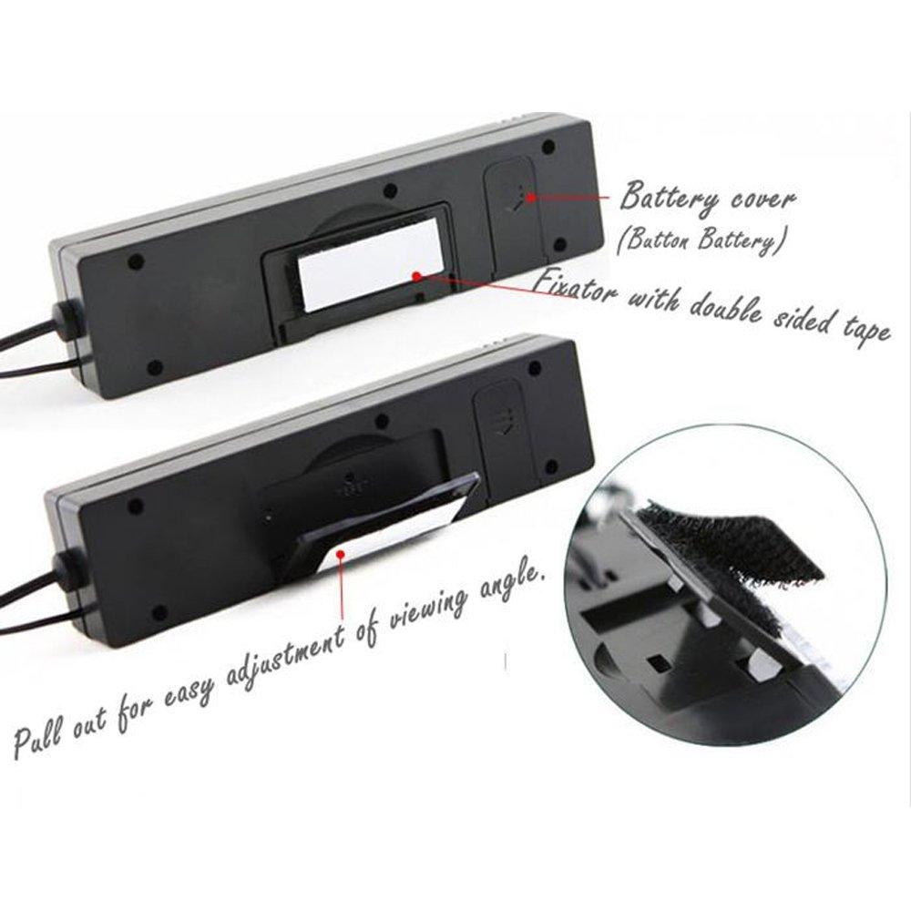 Boomboost Mini coche dentro y fuera term/ómetro volt/ímetro tiempo de pantalla de alarma de voltaje Doble pantalla de retroiluminaci/ón de color Volt/ímetro Term/ómetro