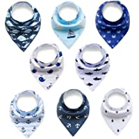 Baby Bandana Drool Bibs,Baby Dribble Bibs with Snaps 8 pack Set for Teething and Drooling,Soft and Absorbent Cotton…