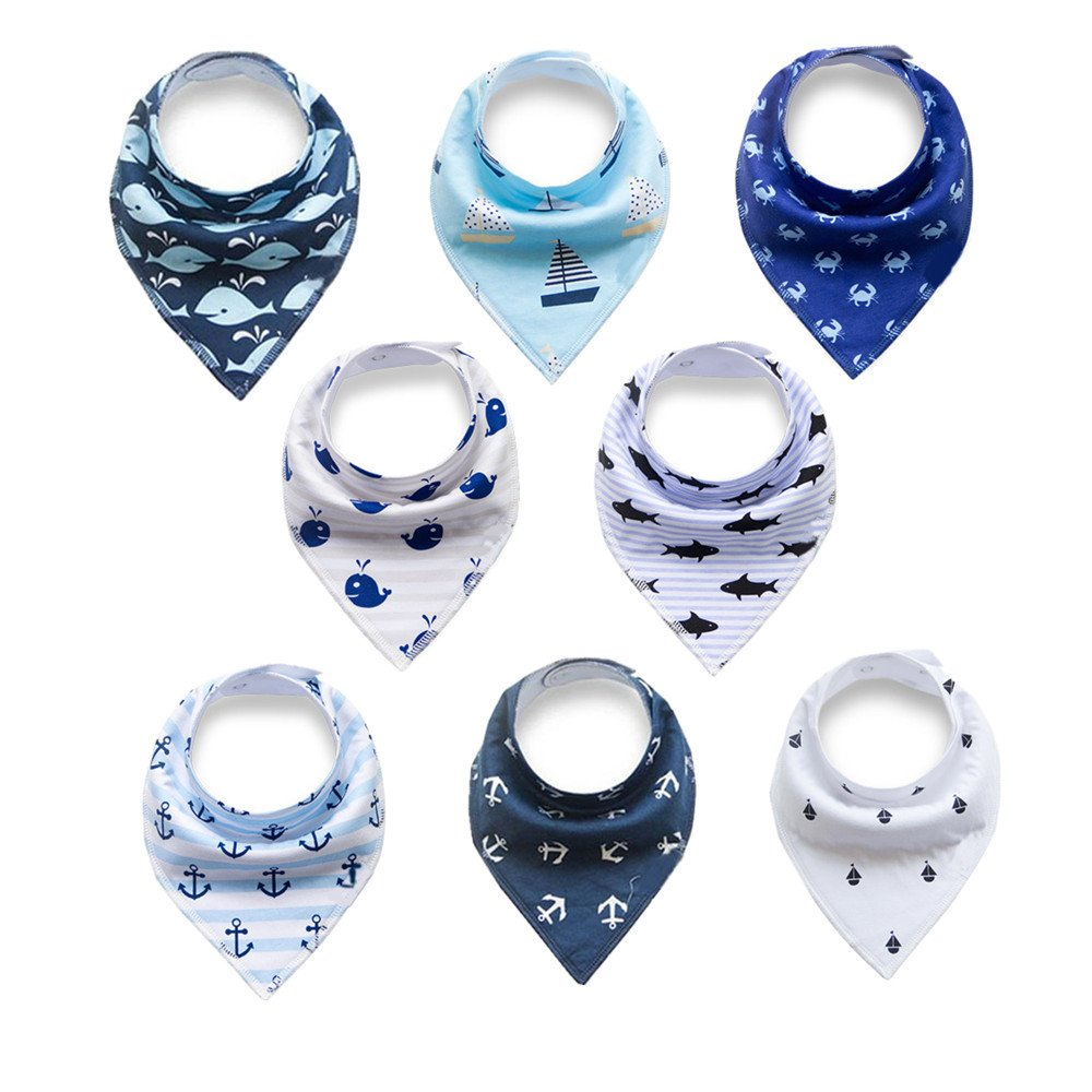 Baby Bandana Drool Bibs,Baby Dribble Bibs with Snaps 8 pack Baby Shower Gift Set for Teething and Drooling,100% Organic Cotton,Soft and Absorbent,Feeding Bibs For Newborns Boys Girls Infants Toddlers