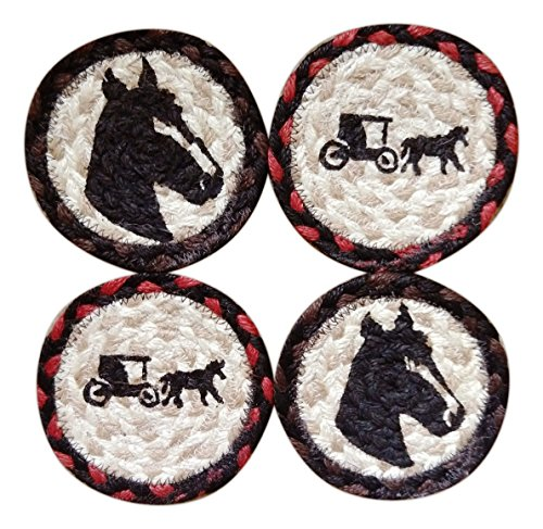 (Capitol Earth Rugs Set of 4 Natural Jute Fiber Coasters (Horses))