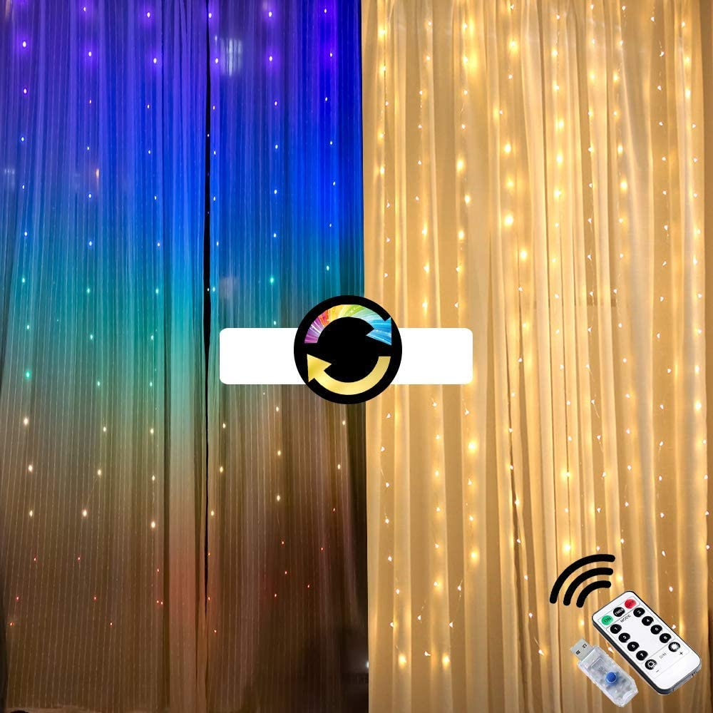 Fairy Lights led String Lights Lighted Curtains Twinkle Color Changing Indoor Window Lights Rainbow Decorations Wall Bedroom Room Decor for Teen Girls Canopy Tapestry Wedding Party Nursery Backdrop