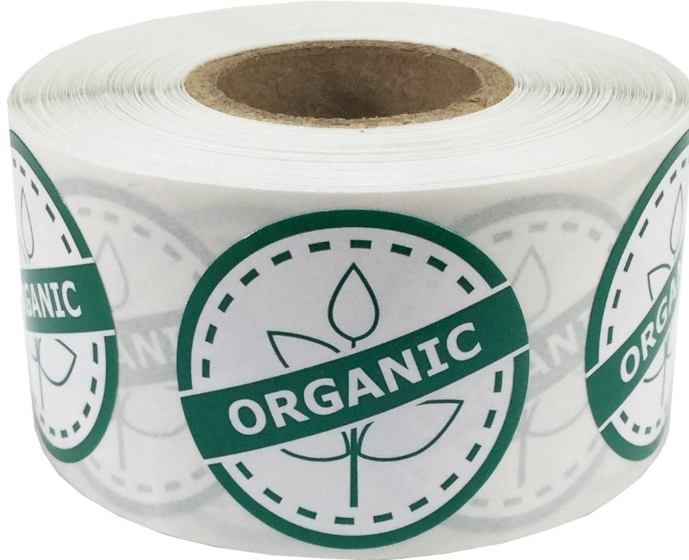 Organic Food Rotation Labels 1 1/4 Inch Round Circle Dots 500 Adhesive Stickers