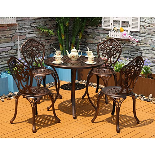 Yongcun Outdoor Patio Furniture Cast Aluminum Dining Set Patio Dining Table Chair Color is Antique Bronze One 31