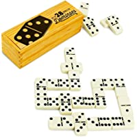 Brybelly Double Six Dominoes with Brass Spinners in Wooden Storage Box, Set of 28