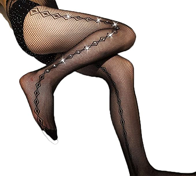 20ec5b35bb53e Image Unavailable. Image not available for. Color: Women's Sexy Crystal  Rhinestone Pantyhose Tights Mesh Fishnet ...