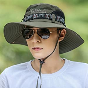 サファリハット メンズ アウトドア帽子 軽薄 通気性抜群 紫外線対策 折りたたみ 釣り 登山 ハイキング UVカット (アーミーグリーン)