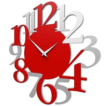 5eb2e136ee Amazon|CalleaDesign - 壁時計 Russell (赤い火)|置き時計・掛け時計 ...