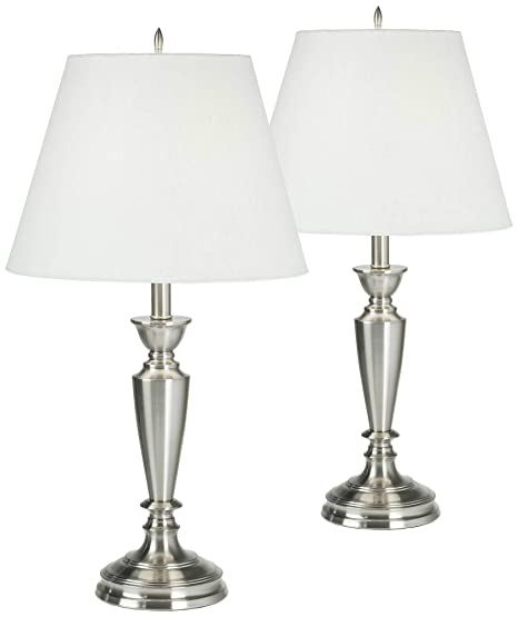 Traditional Table Lamps Set of 2 Brushed Steel Candlestick White Linen  Empire Shade for Living Room Family Bedroom - Barnes and Ivy