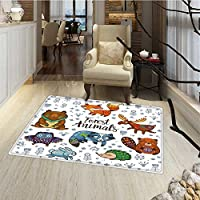 Cabin Decor Door Mats Area Rug Set of Cute Woodland Animals Tribal Nature Elements Kids Room Nursery Wall Art Bath Mat for tub Bathroom Mat 18x30 Multicolor