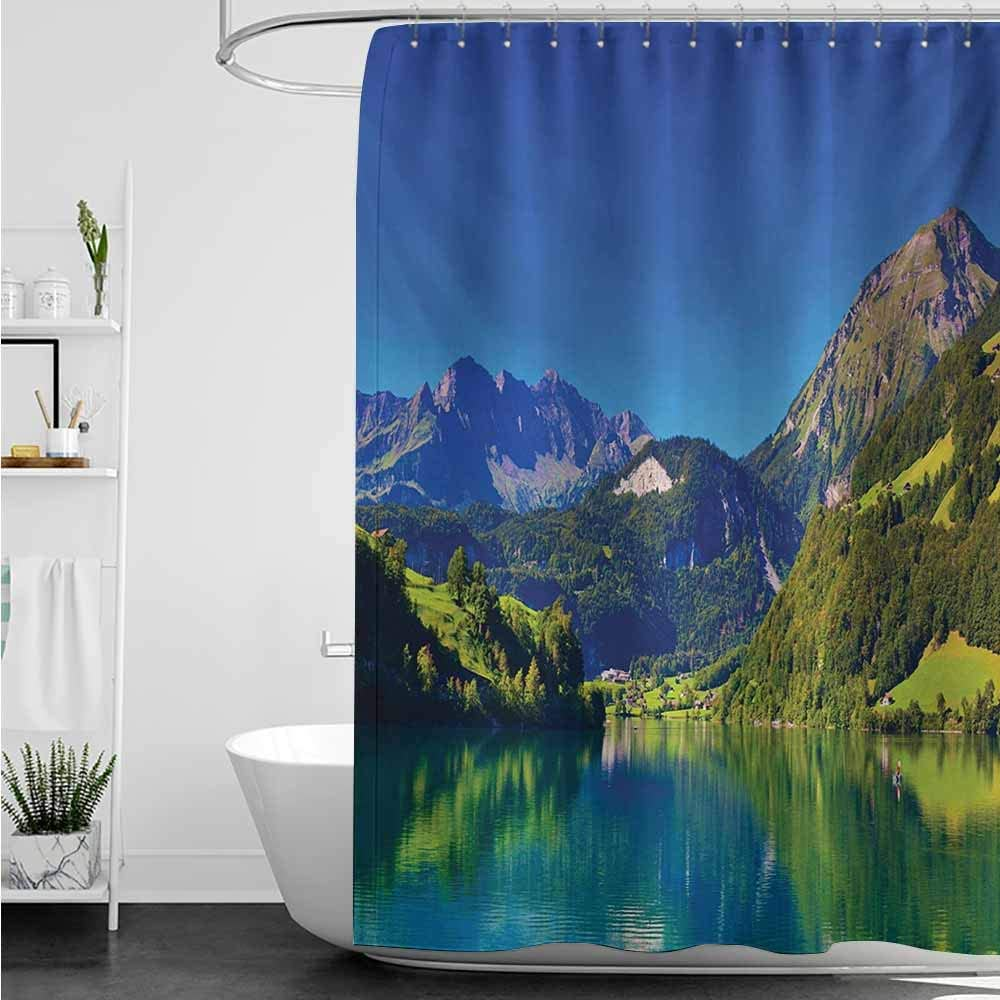 Cortinas para mampara de ducha, paisaje de los Alpes suizos de montaña y bosque de pradera con lago Tranquil también pequeño pueblo antiguo, decoración de baño, 72 x 96 L, color azul