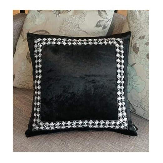 QYLOZ Almohada Terciopelo Blanco y Negro de Moda de Diamante ...