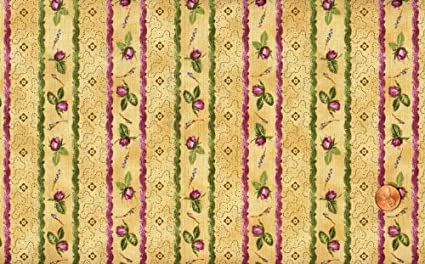 Amazoncom Rjr Bella Rosa Rosebuds And Stripes Cotton Fabric By