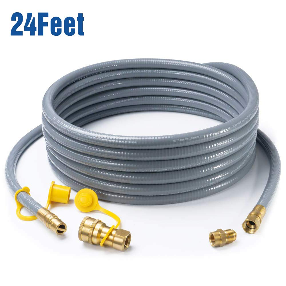 "GASPRO 24 Feet 1/2"" ID Natural Gas Hose, Propane Gas Grill Quick Connect/Disconnect Hose Assembly with 3/8"" Female Flare by 1/2"" Male Flare Adapter for Outdoor NG/Propane Appliance"