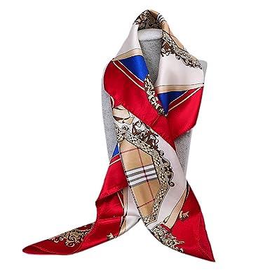 YiyiLai Rétro Foulard Femme Imitation de Soie Echarpe Carrée 90 90cm Bandana  Cheveux Mode Style 9d88737c2ec