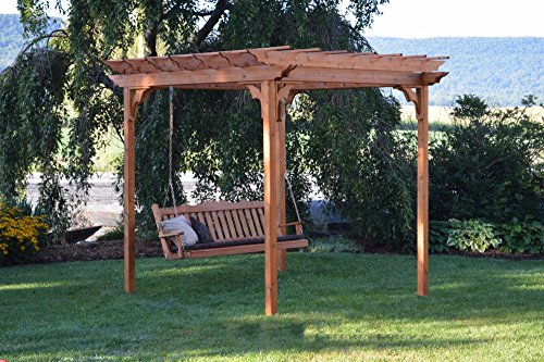 A&L Furniture Co. 8' x 8' Amish-Made Cedar Pergola with 6' Royal English Porch Swing, Redwood