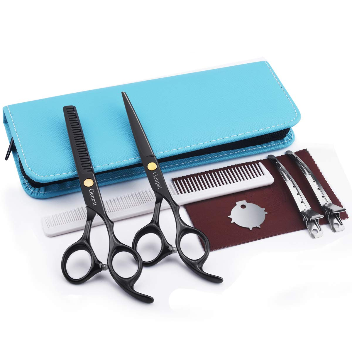 Genpai Hair Cutting Scissors Set, Professional Barber Hair Salon Household Children\'s Stainless Steel Shear Bangs Artifact Thinning Hairdressing Shear with Blue Leather Case(Blue)