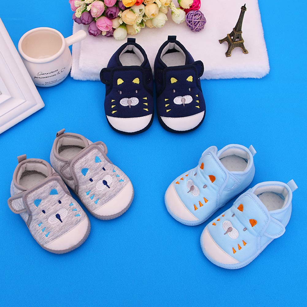3-6M Navy Blue 13 Alamana Cartoon Design Newborn Baby Infant Anti-Slip Soft Sole Prewalker Toddler Shoes