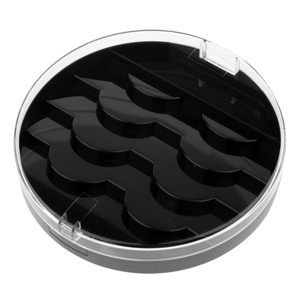 D DOLITY Black False Eyelash Case Holder - Four Tier Box, Organizer for Travel, Lashes Storage Compartments